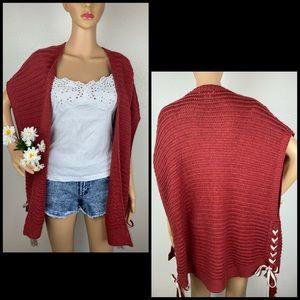 Entro Lace-Up Knit Rust Cardi Cardigan Sweater
